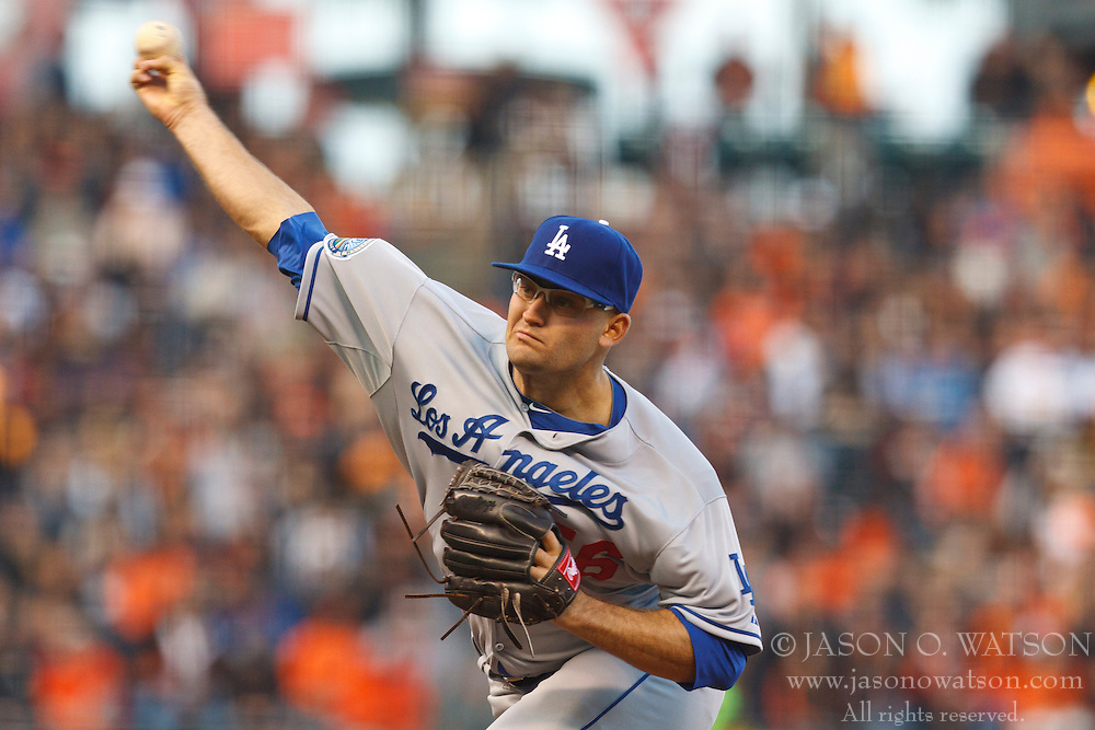 SAN FRANCISCO, CA - JULY 27: Stephen Fife #56 of the Los Angeles Dodgers pitches against the San Francisco Giants during the first inning at AT&T Park on July 27, 2012 in San Francisco, California. The Los Angeles Dodgers defeated the San Francisco Giants 5-3 in 10 innings. (Photo by Jason O. Watson/Getty Images) *** Local Caption *** Stephen Fife