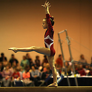 A young gymnast performs on the balance beam during the 21st American Invitational 2014 competition at the XL Centre. Hartford, Connecticut, USA. USA. 31st January 2014. Photo Tim Clayton