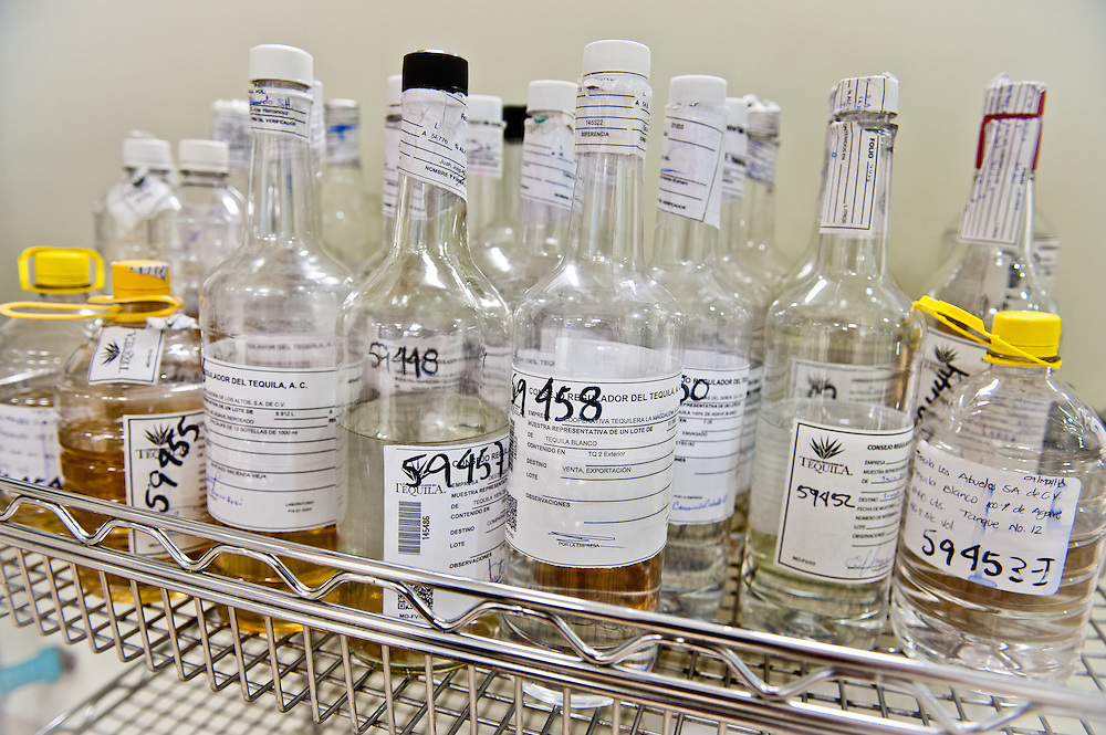 Laboratory scientists at the Tequila Regulatory Council's headquarters in Guadalajara run tests to make sure every tequila producer's products meet the highest quality and safety standards. As a Denomination of Origin product, like Colombian coffee and French cognac, all tequila must adhere to a set of strict regulations that govern farming, production, and export.