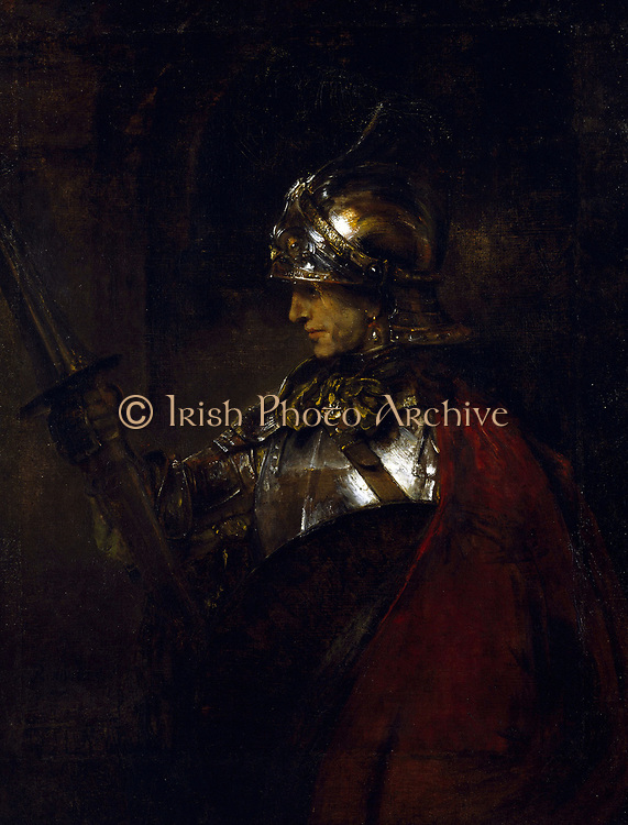 A Man in Armour', 1655. Oil on canvas.  Rembrandt van Rijn (1606– 1669 ) Dutch painter and etcher. Helmet Cuirass Lance Shield Cloak Red Profile
