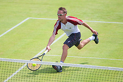 LIVERPOOL, ENGLAND - Wednesday, June 19, 2013: Simon Roberts in action during the Men's Qualifying Final on Kids Day at the Liverpool Hope University International Tennis Tournament at Calderstones Park. (Pic by David Rawcliffe/Propaganda)