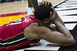 January 14, 2018 - Miami, FL, USA - Miami Heat center Hassan Whiteside (21) reacts after being fouled by Milwaukee Bucks Malcolm Brogdon (13) in the second quarter on Sunday, Jan. 14, 2018 at the AmericanAirlines Arena in Miami, Fla. (Credit Image: © Matias J. Ocner/TNS via ZUMA Wire)