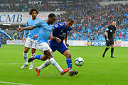 Raheem Sterling (7) of Manchester City crosses the ball during the Premier League match between Cardiff City and Manchester City at the Cardiff City Stadium, Cardiff, Wales on 22 September 2018.