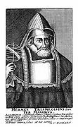 Hermes the Egyptian (Hermes Trismegistus) the legendary fount of occult and alchemical knowledge. 17th century copperplate engraving