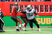 Carolina Panthers Defensive Linesman Vernon Butler (92) strips the ball from Tampa Bay Buccaneers QuarterbackJ ameis Winston (3), turnover during the International Series match between Tampa Bay Buccaneers and Carolina Panthers at Tottenham Hotspur Stadium, London, United Kingdom on 13 October 2019.