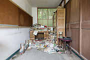 Aoshima, Ehime prefecture, September 4 2015 - Inside the abandonned school of Aoshima island.<br /> Aoshima (Ao island) is one of the several « cat islands » in Japan. Due to the decreasing of its poluation, the island now host about 6 times more cats than residents.