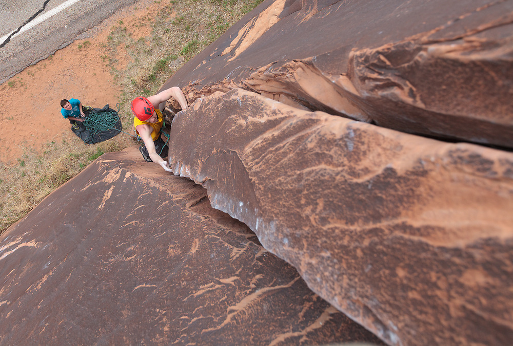 Jon Bouchard on El Cracko Diablo, 5.10a on Wallstreet in Moab