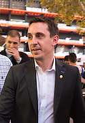 VALENCIA, SPAIN, 2015, DECEMBER 03<br /> <br /> Gary Neville, the new coach of Valencia, was officially launched today. Following the same, the coach was very attentive to fans who found his way, living anecdotal when crossed with a very special gift, as is a bag of oranges, prized and abundant in this area of Spain situation. Gary thanked everyone for their presence, oranges and said he is happy to settle into the city with his family<br /> ©Exclusivepix Media