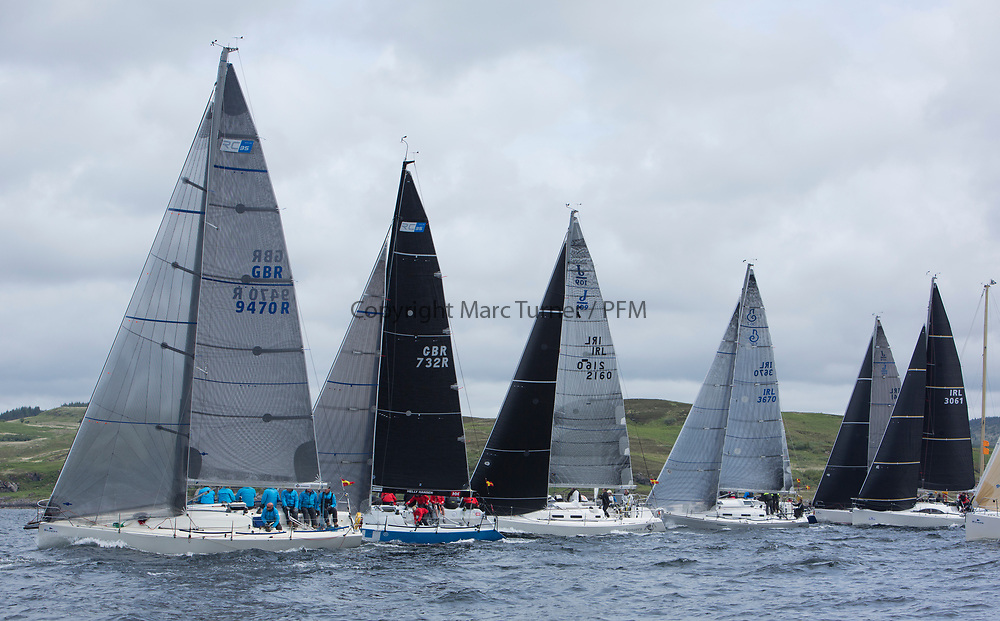 Silvers Marine Scottish Series 2017<br /> Tarbert Loch Fyne - Sailing<br /> <br /> RC35 Class start with GBR9470R, Banshee, Charlie Frize, CCC, Corby 33.<br /> <br /> Credit: Marc Turner / CCC
