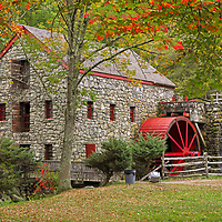 Returned to the historic Wayside Inn Grist Mill to take in the scenery during fall foliage. Autumn colors were still apparent and brilliant. This local New England landmark is in Sudbury, Massachusetts. <br />