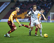 Dundee&rsquo;s Greg Stewart takes on Motherwell&rsquo;s Keith Lasley and Josh Law - Motherwell v Dundee - Ladbrokes Premiership at Fir Park<br /> <br /> <br />  - &copy; David Young - www.davidyoungphoto.co.uk - email: davidyoungphoto@gmail.com