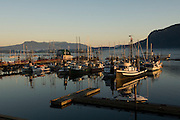 Cowichan Bay  harbor at sunset, Vancouver Island, British Columbia, Canada
