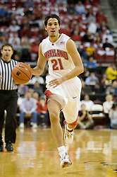 Maryland guard Greivis Vasquez (21) in action against UVA.  The Maryland Terrapins defeated the Virginia Cavaliers men's basketball team 85-75 at the Comcast Arena in College Park, MD on January 30, 2008.