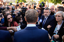 October 6, 2018 - Krakow, Poland - The President of European Council, Donald Tusk speaks to the media at the Main Square. (Credit Image: © Omar Marques/SOPA Images via ZUMA Wire)