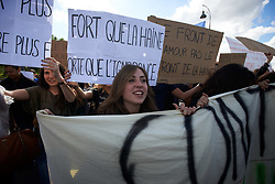 May 3, 2017 - Paris, France - Students demonstrate against the Front National (far-right) candidate Marine Le Pen. (Credit Image: © Alain Pitton/NurPhoto via ZUMA Press)