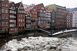 Frozen canals during winter in Nikolaifleet district in Hamburg Germany