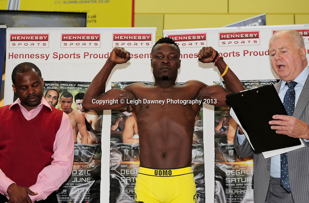 Kid Galahad & Isaac Nettey at the official Weigh In at Glow, Bluewater, Dartford, Kent on 7th June 2013. Promoter: Hennessy Sports. Mandatory Credit: © Leigh Dawney