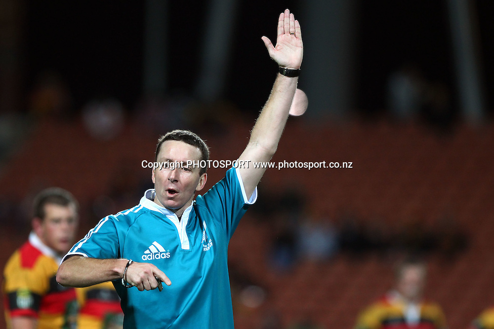 Referee Garratt Williamson makes a call. ITM Cup Final, Waikato v Canterbury at Waikato Stadium, Hamilton, New Zealand. Saturday 3rd September 2011. Photo: Anthony Au-Yeung / photosport.co.nz