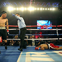 KISSIMMEE, FL - MAY 25: Jose Cardenas knocks out Antonio Vargas in the first round during their fight at Osceola Heritage Park on May 25, 2019 in Kissimmee, Florida. (Photo by Alex Menendez/Getty Images) *** Local Caption *** Antonio Vargas; Jose Cardenas