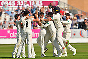 Tied match - Drama as cather Tom Bailey of Lancashire and bowler Keshav Maharaj of Lancashire are mobbed after taking the wicket to dismiss Jack Leach of Somerset to tie the macth during the Specsavers County Champ Div 1 match between Somerset County Cricket Club and Lancashire County Cricket Club at the Cooper Associates County Ground, Taunton, United Kingdom on 5 September 2018.