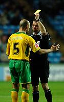 Photo: Daniel Hambury.<br />Coventry City v Norwich City. Coca Cola Championship.<br />26/11/2005.<br />Norwich's Craig Flemming (L) is booked.