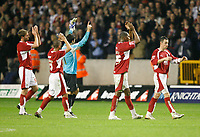Photo: Steve Bond/Sportsbeat Images.<br />Wolverhampton Wanderers v Bristol City. Coca Cola Championship. 03/11/2007. Adriano Basso & Marvin Elliott join in applauding the travelling fans