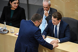 "27.05.2019, Hofburg, Wien, AUT, Sondersitzung des Nationalrates, Sitzung des Nationalrates aufgrund des Misstrauensantrags der Liste JETZT, FPOE und SPOE gegen Bundeskanzler Sebastian Kurz (OeVP) und die Bundesregierung, im Bild v.l. Elisabeth Köstinger (ÖVP), August Wöginger (ÖVP), Innenminister Eckart Ratz, Sebastian Kurz (ÖVP) // during special meeting of the National Council of austria due to the topic ""motion of censure against the federal chancellor Sebastian Kurz (OeVP) and the federal government"" at the Hofburg in Wien, Australia on 2019/05/27. EXPA Pictures © 2019, PhotoCredit: EXPA/ Lukas Huter"
