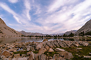 Sunrise view at an unnamed lake (just downstream from Lake Marjorie). John Muir Trail/Pacific Crest Trail; Sequoia Kings Canyon Wilderness; Kings Canyon National Park; Sierra Nevada Mountains, California, USA.