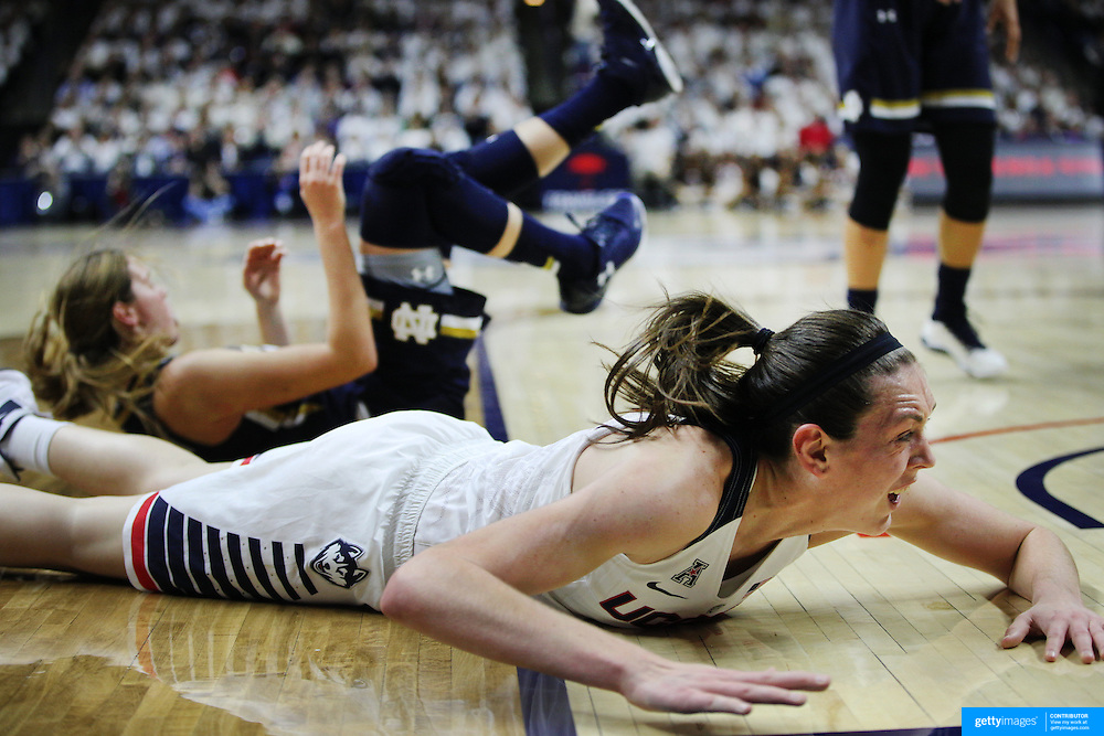 Breanna Stewart, UConn, hits the floor hard after tipping in a rebound during the Notre Dame Vs UConn Women's Basketball game at Grampel Pavilion, Storrs, Connecticut, USA. 5th December 2015. Photo Tim Clayton