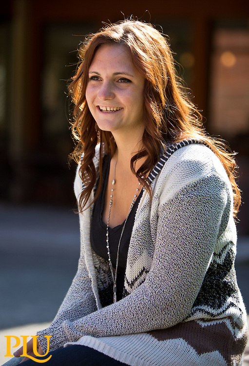 Alex Mattich '15 talks about the impact the Avid program at Ferrucci Jr. High had on her in her drive to attend college at PLU on Thursday, Oct. 2, 2014. (PLU Photo/John Froschauer)