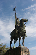 The equestrian statue to ninth-century nobleman Vimara Peres outside the Cathedral de Se, on 21st July, in Porto, Portugal. Peres was from the Kingdom of Asturias and the first ruler of the County of Portugal who helped conquer the Moors. (Photo by Richard Baker / In Pictures via Getty Images)