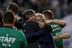 April 19, 2018 - Na - Lisbon, 04/18/2018 - Sporting Clube de Portugal received this evening the Futebol Clube do Porto in the stadium of Alvalade in Lisbon, in game to count for the second leg of the Portuguese Cup 2017/2018 semi-final. Raúl José and Jorge Jesus celebrate the victory  (Credit Image: © Atlantico Press via ZUMA Wire)