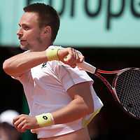5 June 2009: Robin Soderling of Sweden hits a forehand during the Men's Singles Semi Final match on day thirteen of the French Open at Roland Garros in Paris, France.