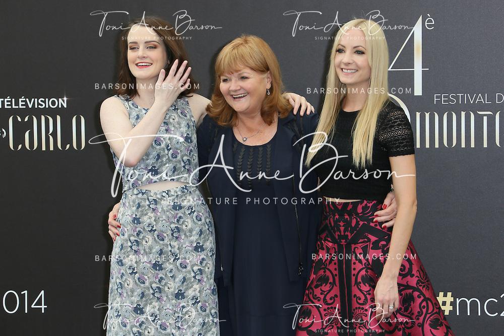 "MONTE-CARLO, MONACO - JUNE 11:  Sophie McShera, Lesley Nicol and Joanne Froggat  attend ""Downton Abbey"" photocall at the Grimaldi Forum on June 11, 2014 in Monte-Carlo, Monaco.  (Photo by Tony Barson/FilmMagic)"
