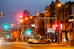 Looking southward down Main Street/Highway 281 at dusk, Pratt, Kansas.
