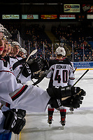 KELOWNA, BC - OCTOBER 03:  Milos Roman #40 of the Vancouver Giants celebrates a goal with high fives past the bench against the Kelowna Rockets  at Prospera Place on October 3, 2018 in Kelowna, Canada. (Photo by Marissa Baecker/Getty Images)