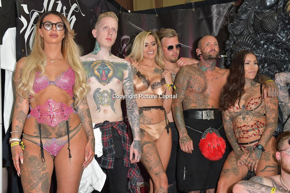 Model of Urban Wear Fashion Show photoshoot at Alexandra Palace, on 25 May 2019, London, UK.