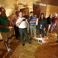 With the dome fully inflated, Braden Bishop, Tupelo High School Sports Information Director, get the school's drone in the air for an indoor flight and a closer look of the dome.