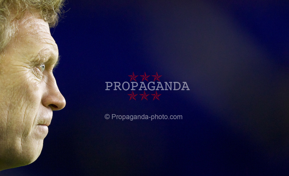 LIVERPOOL, ENGLAND - Tuesday, January 31, 2012: Everton's manager David Moyes before the Premiership match against Manchester City at Goodison Park. (Pic by Vegard Grott/Propaganda)