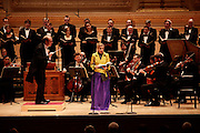 Conductor Bernard Labadie and soprano Rosemary Joshua  of Les Violons du Roy, La Chapelle de Québec perform at Carnegie Hall on December 11, 2009 in New York city. photo by Joe Kohen for The New York Times