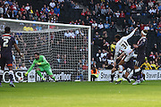Milton Keynes Dons midfielder Josh Murphy scores to make it 1-1 during the Sky Bet Championship match between Milton Keynes Dons and Derby County at stadium:mk, Milton Keynes, England on 26 September 2015. Photo by David Charbit.