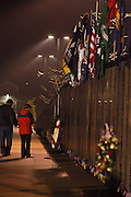 "The Traveling Vietnam Veterans Memorial, the ""Traveling Wall"",  had visitors well into the night during its visit to Petoskey, Michigan."