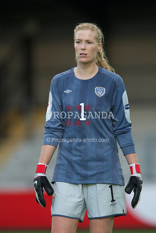 NEWPORT, WALES - Saturday, September 17, 2011: Republic of Ireland's goalkeeper Emma Byrne (Arsenal) in action against Wales during the UEFA European Women's Championship 2011-13 Group 4 Qualifying match at the Newport Stadium. (Pic by David Rawcliffe/Propaganda)