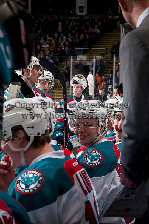 KELOWNA, CANADA - FEBRUARY 24: Ted Brennan #10 of the Kelowna Rockets sits on the bench against the Kamloops Blazers  on February 24, 2018 at Prospera Place in Kelowna, British Columbia, Canada.  (Photo by Marissa Baecker/Shoot the Breeze)  *** Local Caption ***