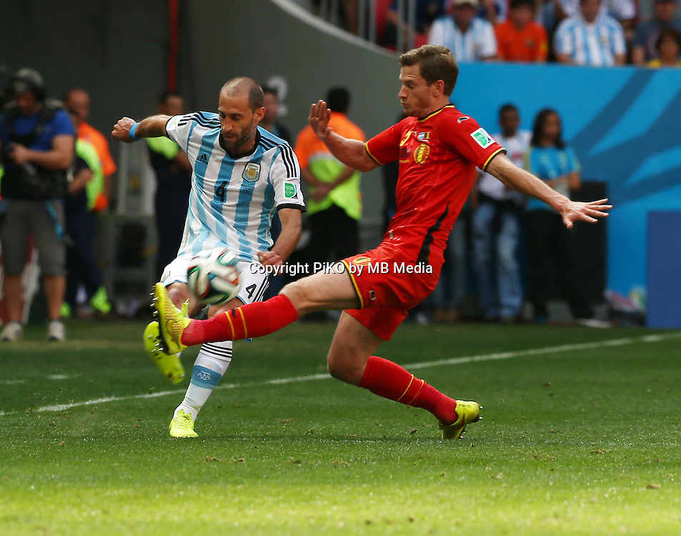 Fifa Soccer World Cup - Brazil 2014 - <br /> ARGENTINA (ARG) Vs. BELGIUM (BEL) - Quarter-finals - Estadio Nacional Brasilia -- Brazil (BRA) - 05 July 2014 <br /> Here Argentine player Pablo Zabaleta (L) and Belgium player Jan VERTONGHEN (R)<br /> &copy; PikoPress