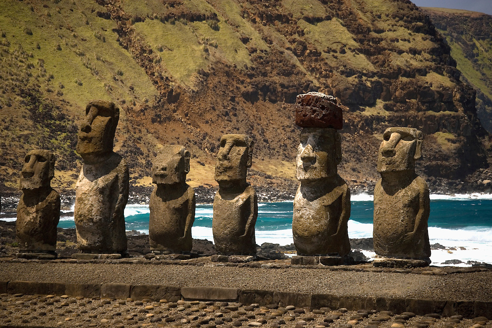 Moai at Tongariki Beach Easter Island, Chile