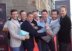 Actor Daniel Mays at the premiere of Swimming with Men at the Festival Theatre, Edinburgh, being carried by friends attending his stag party in the city, pic copyright Terry Murden @edinburghelitemedia