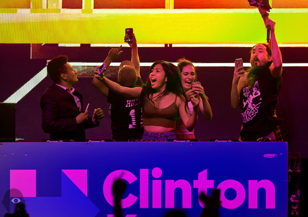UNLV students dance on stage with DJ Steve Aoki during a campaign rally and concert for Hillary Clinton on Thursday, Nov. 3, 2016.  L.E. Baskow