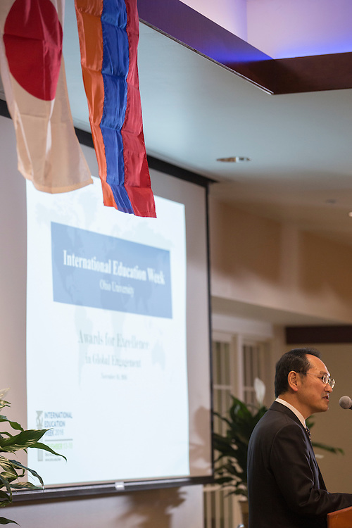 Dr. Tadashi Shiozawa, a professor in English Language and Culture, gives an acceptance speech for the Tanaka-OHIO Award during The Global Engagement Awards Gala for International Education Week on November 16, 2016.