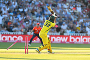 Wicket - Glenn Maxwell of Australia is bowled by Chris Jordan of England during the International T20 match between England and Australia at Edgbaston, Birmingham, United Kingdom on 27 June 2018. Picture by Graham Hunt.